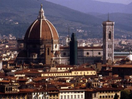 Duomo and baptistry mark the signature skyline of Florence, Italy.