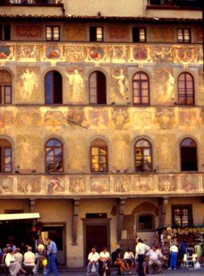 Medieval facade across from Santa Croce Basilica, Florence, Italy.