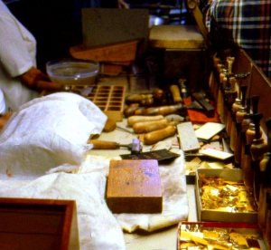 Gold leaf workshop, museum at Santa Croce Basilica, Florience, Italy.