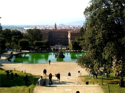 View of the Pitti Palace overlooking the city of Florence, Italy.