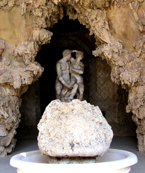 Grotto with statue of Paris and Helen of Troy, Boboli Gardens, Florence, Italy.