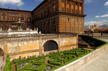 Pitti Palace with formal garden and skyline view, FLorence, Italy.