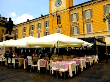 Lunch on the piazza, Parma, Italy.