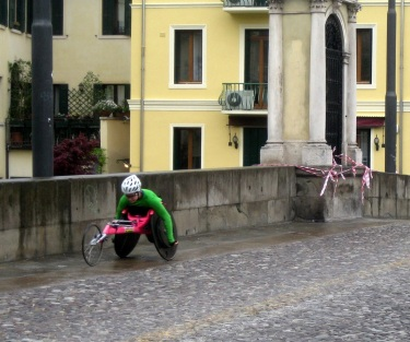 Disability is no obstacle for this cyclist in Parma, Italy.