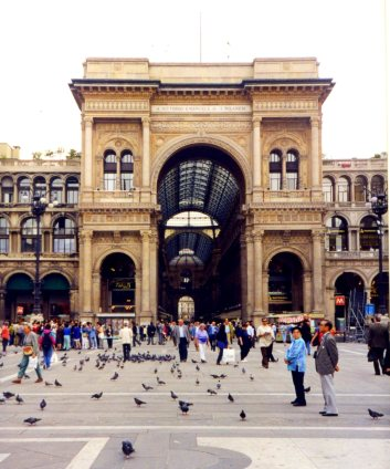 Entrance to the Galleria Vittorio Emanuele II, Milano, Italy.