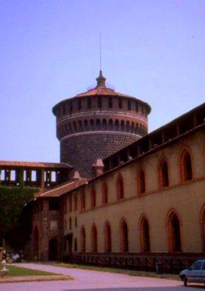 Courtyard, Sforza castle, Milano, Italy.