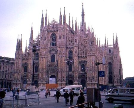 Front facade of the Duomo, Milano, Italy.
