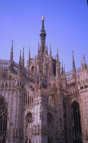 "Duomo capped by the ""Madonnina's spire, Milano, Italy."