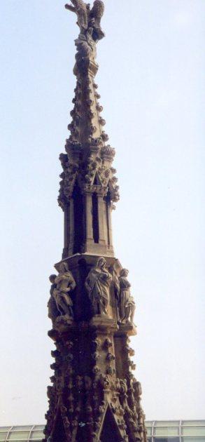 Gothic spire detail, Duomo, Milano. Italy.