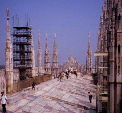 Rooftop deck, Duomo, Milano. Italy.