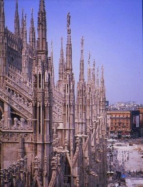 Rooftop view of the city, Duomo, Milano. Italy.