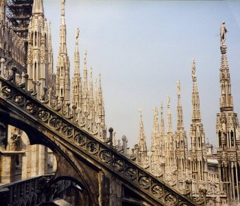 Spires seen from the rooftop, Duomo, Milano. Italy.