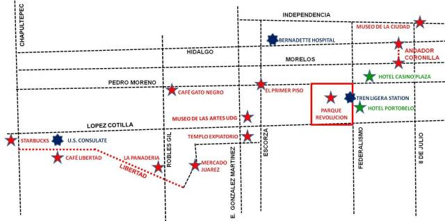Guadalajara Midtown map