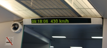 The Maglev Train reaches its peak speed of 430 kmh/267 mph.