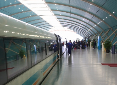 The Maglev Train pulls into the station.