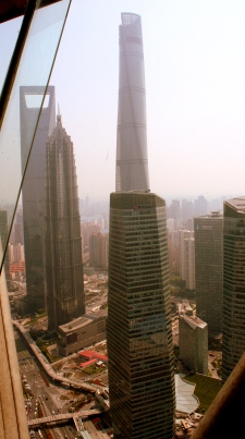 Veiw from the Pearl Tower. The tall building is the 128 story Shanghai Tower.