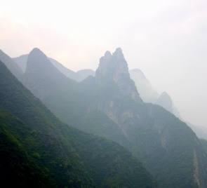 Peaks in the Three Gorges area as seen from the river.
