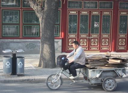 Cardboard recycling in Beijing.