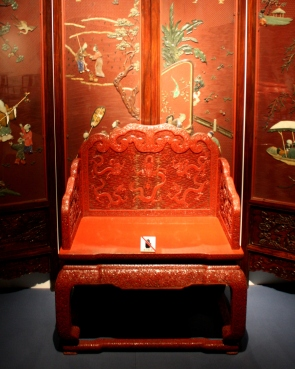 Carved chair and bas-relief panel, Shanghai Museum.