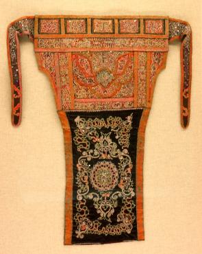 Shoulder bag on display in the Minorities Gallery, Shanghai Museum.