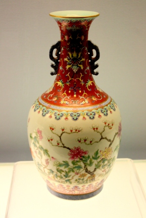 Porcelain vase on display in the Shanghai Museum.