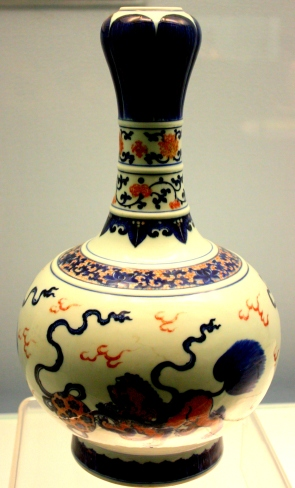 Porcelain vase on display in the Shanghai Museum.