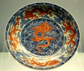 Porcelain plate on display in the Shanghai Museum.