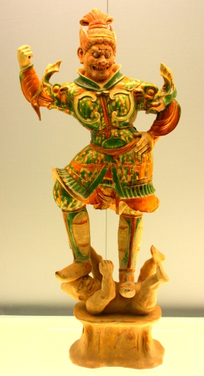 Porcelain figurine on display in the Shanghai Museum.