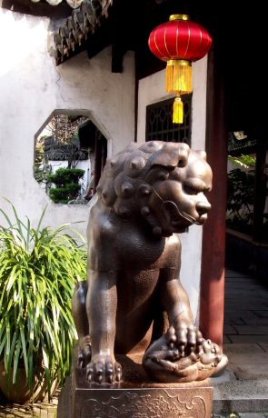 The Imperial lion is a symbol that recurs in Chinese architecture.